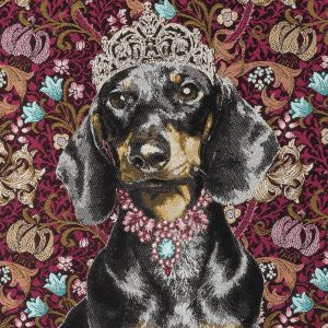French Fuchsia Crowned Dachshund Oversized Square Patch - 18.875