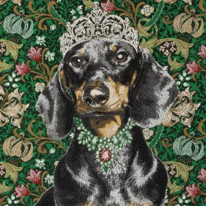 French Green Crowned Dachshund Oversized Square Patch - 18.875