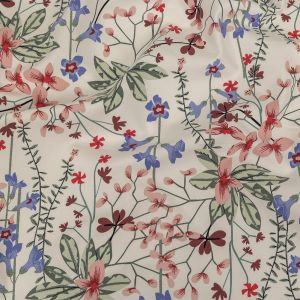 Garland Winter White and Pink Floral Stretch Organic Cotton Double Cloth
