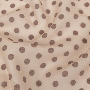 Zimmermann Nude and Cocoa Polka Dotted Linen and Silk Organza