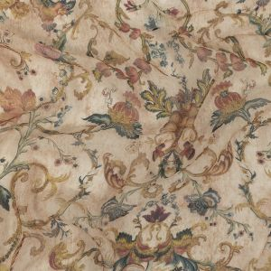 Zimmermann Peach Floral Tapestry Printed Crinkled Silk Chiffon