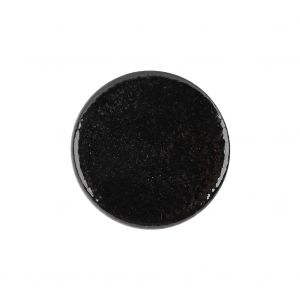Black Patent Leather and Silk Sew On Button - 36L/23mm