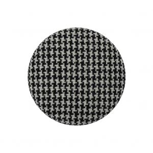 Black and White Houndstooth Fabric Covered Wool and Metal Sew On Button - 40L/25.5mm