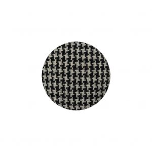 Black and White Houndstooth Fabric Covered Wool and Metal Sew On Button - 30L/19mm