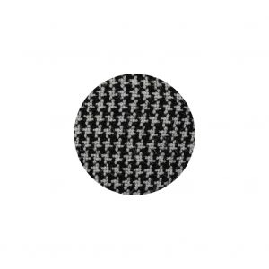Black and White Houndstooth Fabric Covered Silk, Wool and Metal Sew On Button - 30L/19mm