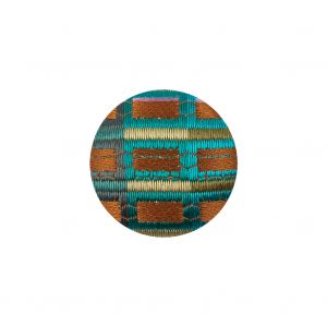 Amber Ale, Maldivian Blue and Cool Calcite Checks Satin Dobby Fabric Covered Silk and Metal Sew On Button - 30L/19mm