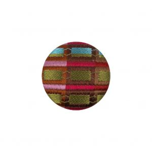 Shock Value, Tortuga Bay and Rolling Waters Checks Satin Dobby Fabric Covered Silk and Metal Sew On Button - 30L/19mm
