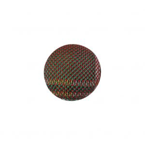 Red, Blue and Yellow Checks Dobby Fabric Covered Domed Cotton and Metal Sew On Button - 24L/15mm