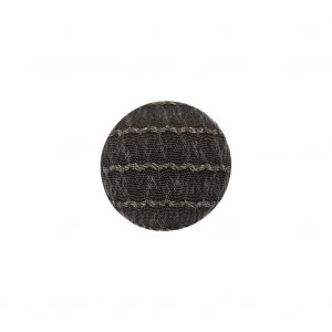 Gray and Chrome Lurex Striated Satin Fabric Covered Silk and Metal Sew On Button - 24L/15mm