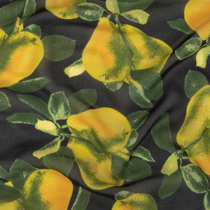 Famous NYC Designer Italian Amber and Green Pears Printed on Black Viscose Georgette