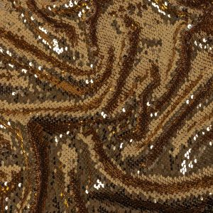 Milly Reflective Gold Paillette Sequins on Beige Stretch Jersey