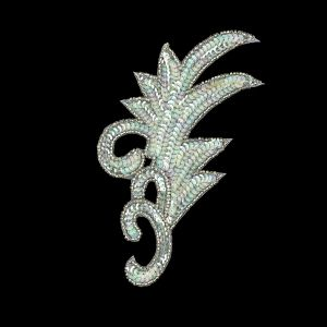 Vintage Translucent Green Iris Sequins and Silver-lined Beaded Foilage Applique - 7.75