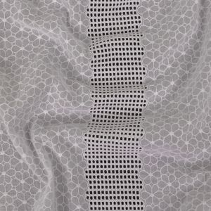 White Floral Embroidered Cotton Voile with Gridded Guipure Lace Stripes
