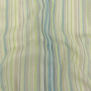 Blue, Lime and Gray Striped Cotton Gauze