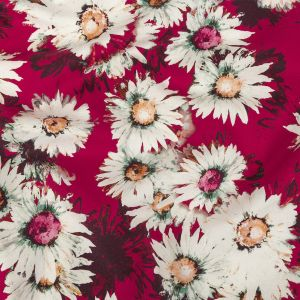 Pink and White Sunflowers Printed Stretch Cotton Twill