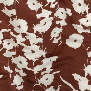 Chestnut Brown and Snow White Floral Printed Silk and Rayon Jacquard
