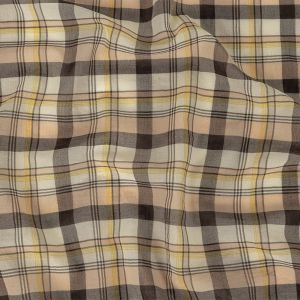 Yellow, Peach and Black Plaid Springy Cotton Voile