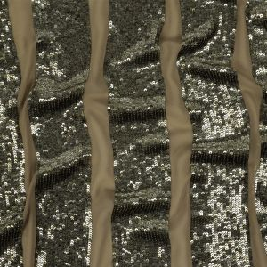 Antique Silk Sequin Awning Stripes on Stretch Tan Silk Georgette