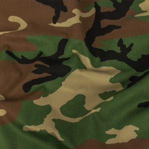 Brown and Green Camouflage Printed Cotton Twill