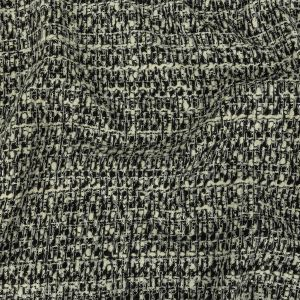Alvin Valley Cannoli Cream, Black and Metallic Silver Boucled Wool Tweed
