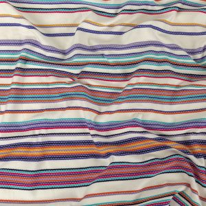 White Rayon Jacquard Knit with Multicolor Stripes