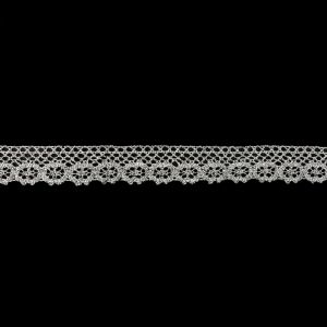 Silver Lurex Floral Lace Trimming - 1
