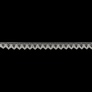 Silver Lurex Geometric Scalloped Lace Trimming - 0.625