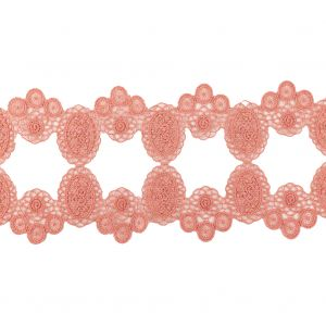 Salmon Pink Circles and Squares Lace Trimming - 3.75