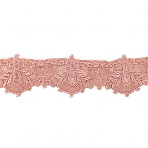 Salmon Pink Floral Lace Trimming - 2.375
