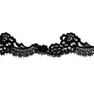 Black Scalloped Lace Trimming - 2.125