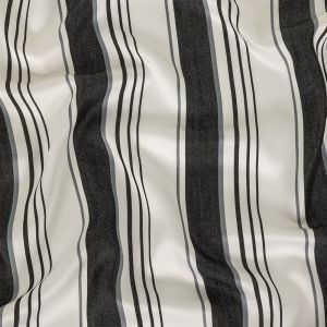 Denim, Gray and White Barcode Striped Rayon Twill