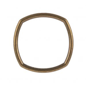 Weathered Gold Rounded Square Metal Ring - 35mm