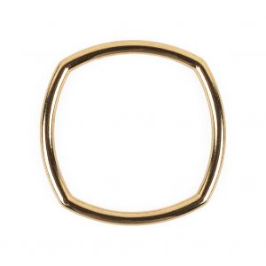 Bright Gold Rounded Square Metal Ring - 35mm