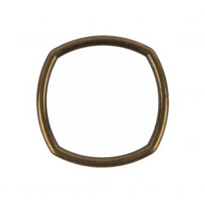 Weathered Gold Rounded Square Metal Ring - 30mm