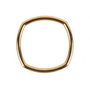 Bright Gold Rounded Square Metal Ring - 30mm