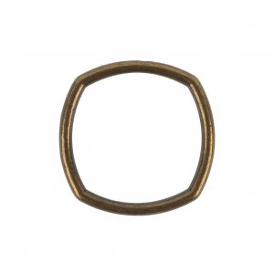 Weathered Gold Rounded Square Metal Ring - 25mm