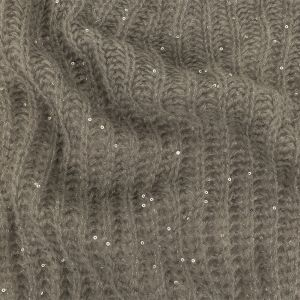 Gray and Metallic Silver Sequined Wool Sweater Knit