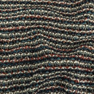 Teal, Russet Brown, and White Striped Chunky Sweater Knit