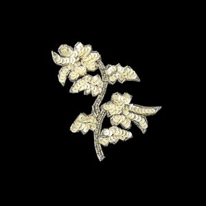 Vintage Ivory Iris Sequins and Silver Bugle Beaded Floral Applique - 4.75