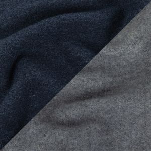 Black Iris and Heathered Gray Double Cloth Wool Knit