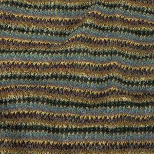 Italian Sky Blue, Yellow and Eggplant Striped Wool Sweater Knit