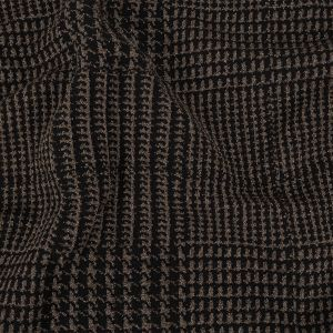 Black, Brown, and Metallic Silver Tactile Houndstooth Polyester and Cotton Double Knit
