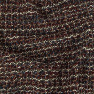 Burgundy, Gray Green and White Loopy Wool Sweater Knit