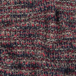 Navy, White and Neon Pink Loopy Stripes Wool Sweater Knit