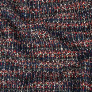 Navy and Red Striated Chunky Wool Knit