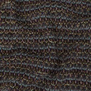 Dusty Blue, Purple and Yellow Striped Chunky Wool Knit with Metallic Silver Accents