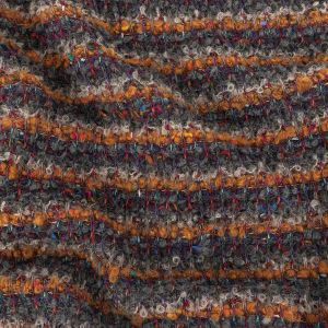 Orange, Charcoal and Navy Stripes Boucled Wool Sweater Knit