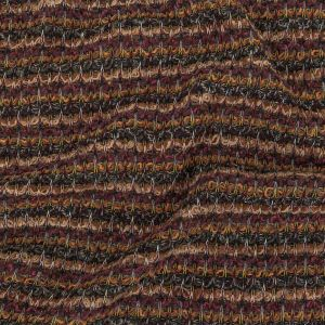 Caramel, Mulberry, and Forest Green Striped Chenille Sweater Knit