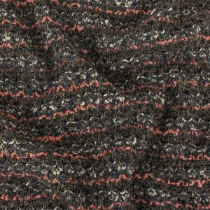 Italian Pewter, Flamingo Pink and Blue Stripes Boucled Wool Sweater Knit with Clear Sequins