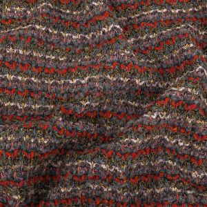 Red, Gray, and Yellow Striped Loopy Chunky Sweater Knit